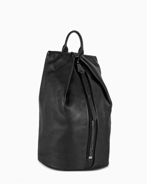 Tamitha Backpack - black with shiny black hardware side angle