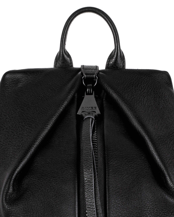 Tamitha Backpack - black with shiny black hardware detail