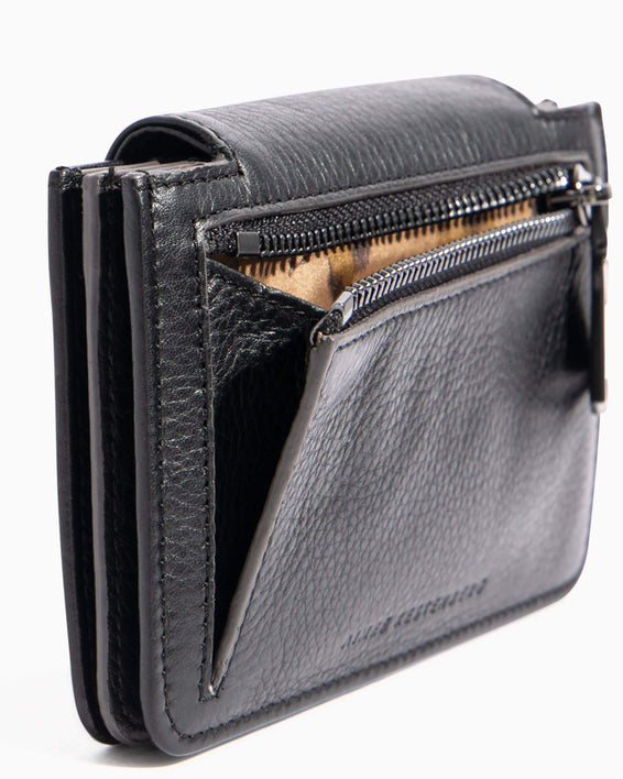 When In Milan Accordion Wallet Black - back zip detail