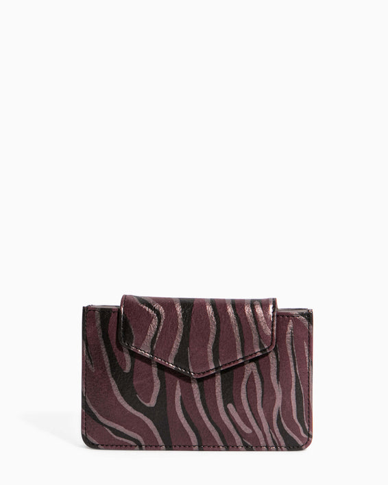 When In Milan Accordion Wallet Merlot Zebra - front