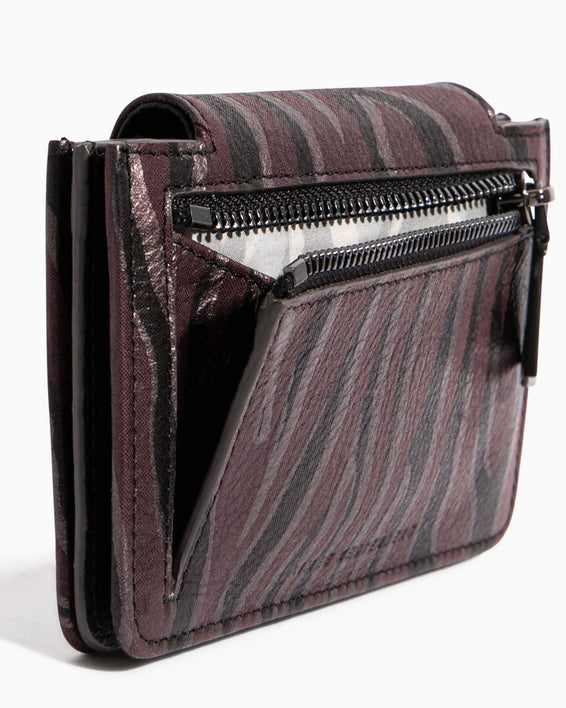 When In Milan Accordion Wallet Merlot Zebra - back zip detail