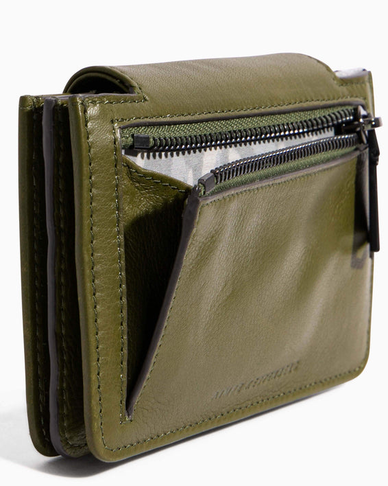 When In Milan Accordion Wallet Olive - back zip detail