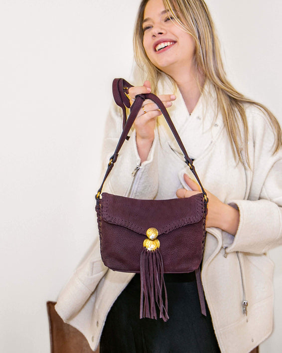 Always Boho Crossbody Merlot Nubuck - on model