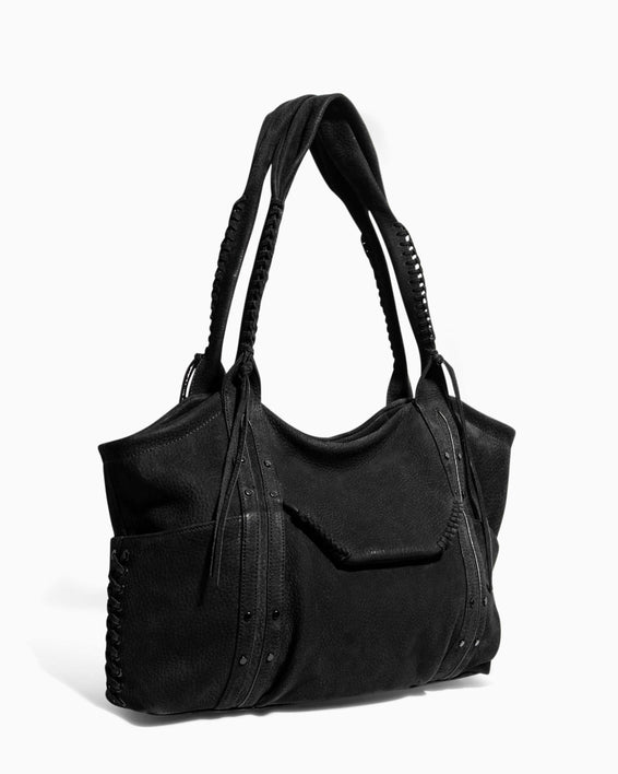 Always Boho Shopper Black Nubuck - side angle