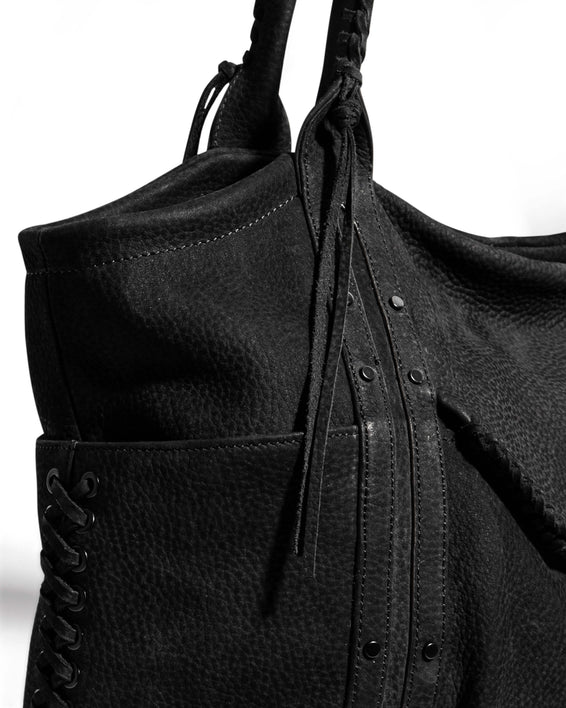 Always Boho Shopper Black Nubuck - custom hardware detail