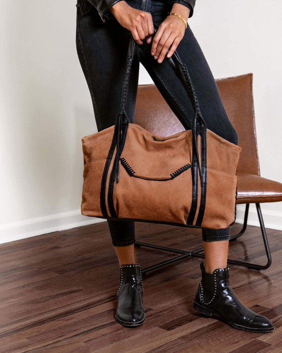 Always Boho Shopper Black Nubuck - on model