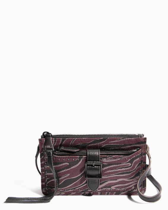 Around The World Phone Crossbody Merlot Zebra - front