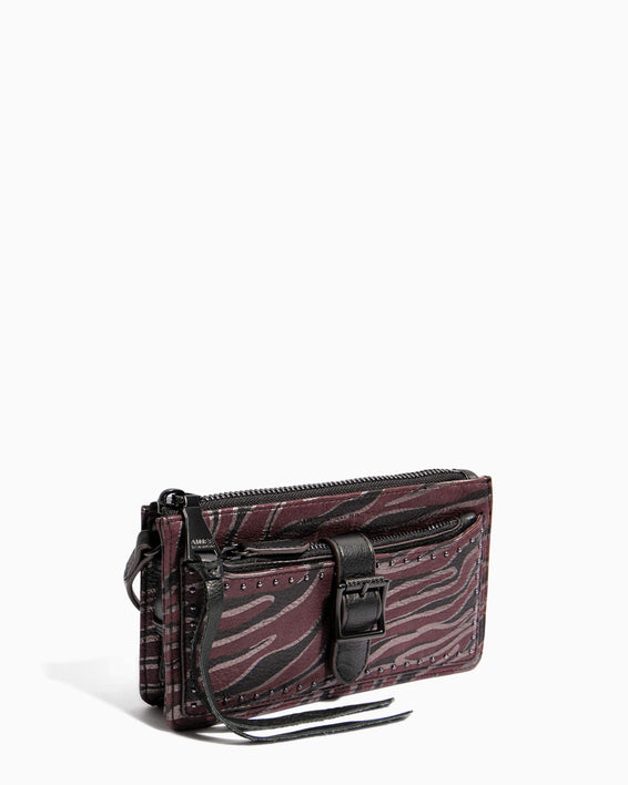 Around The World Phone Crossbody Merlot Zebra - side angle