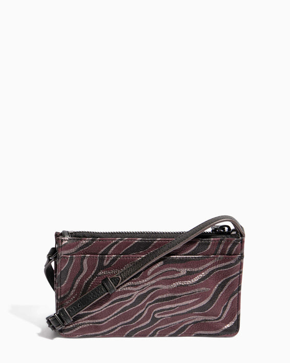 Around The World Phone Crossbody Merlot Zebra - back