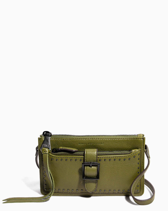 Around The World Phone Crossbody Olive - front