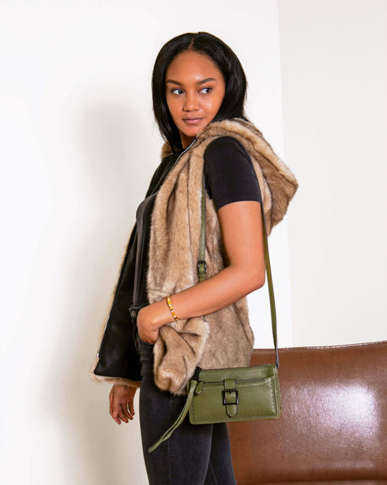 Around The World Phone Crossbody Olive - on model