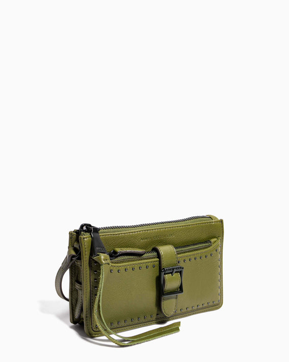 Around The World Phone Crossbody Olive - side angle