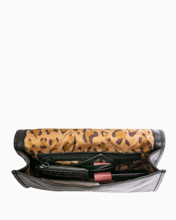 Fierce & Fab Clutch - large leopard haircalf interior functionality