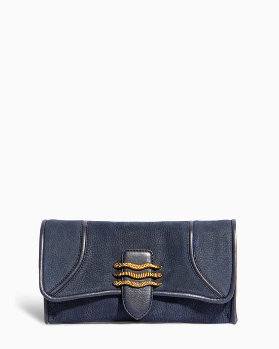 Fierce & Fab Clutch - deep indigo nubuck front