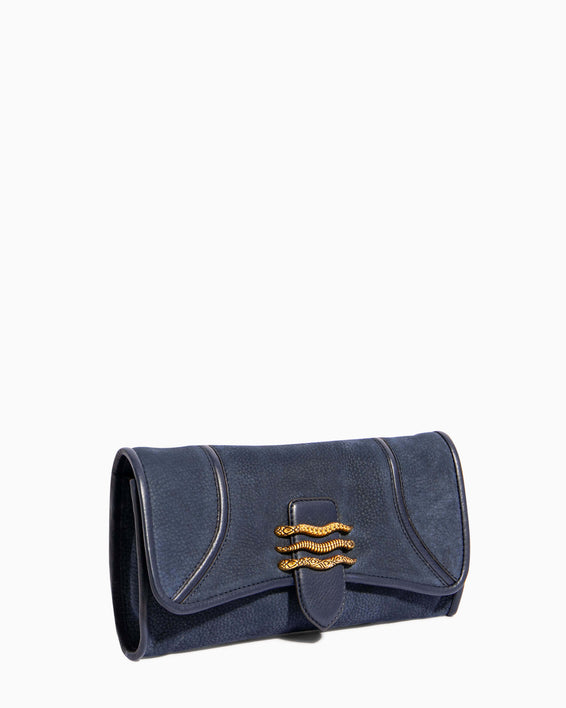 Fierce & Fab Clutch - deep indigo nubuck side angle