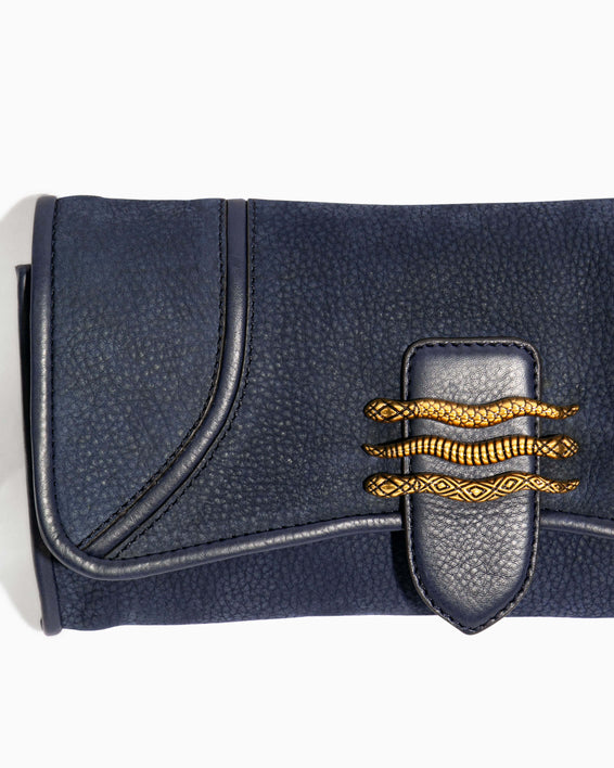 Fierce & Fab Clutch - deep indigo nubuck hardware detail