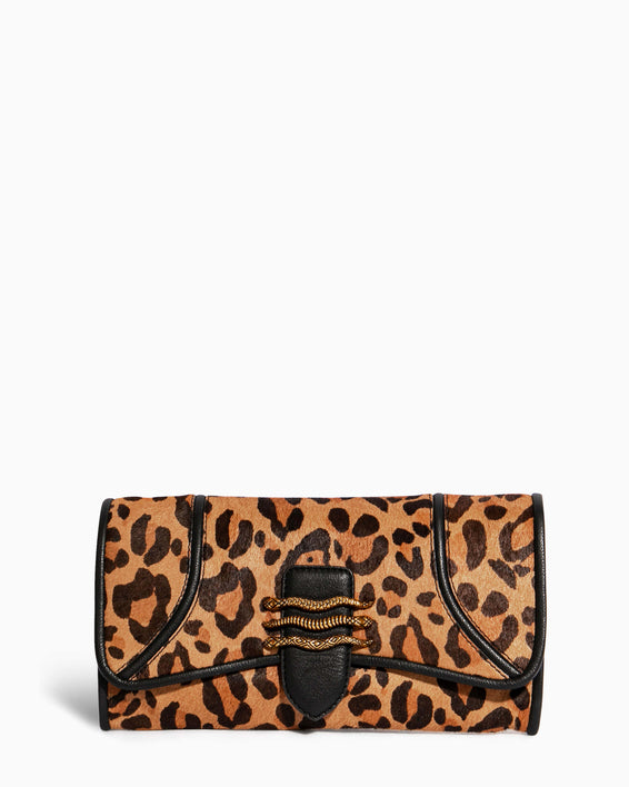 Fierce & Fab Clutch - large leopard haircalf front