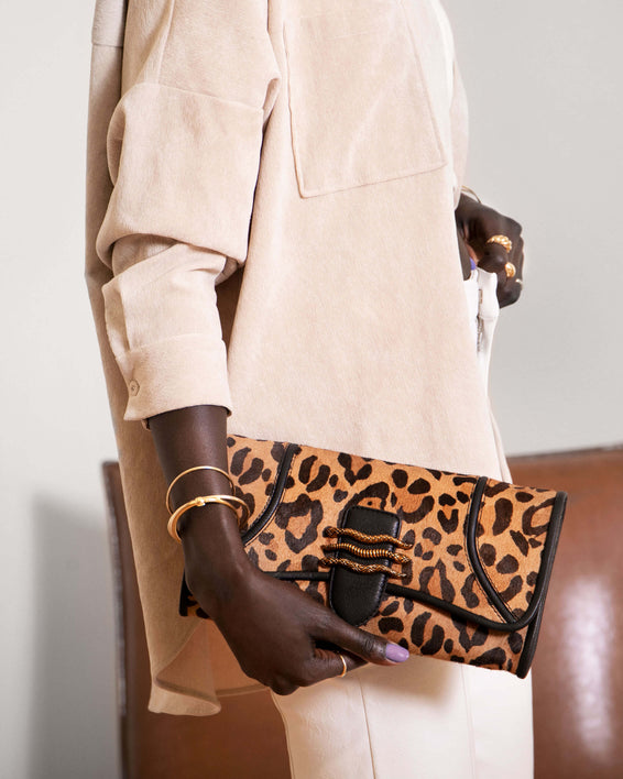 Fierce & Fab Clutch - large leopard haircalf on model