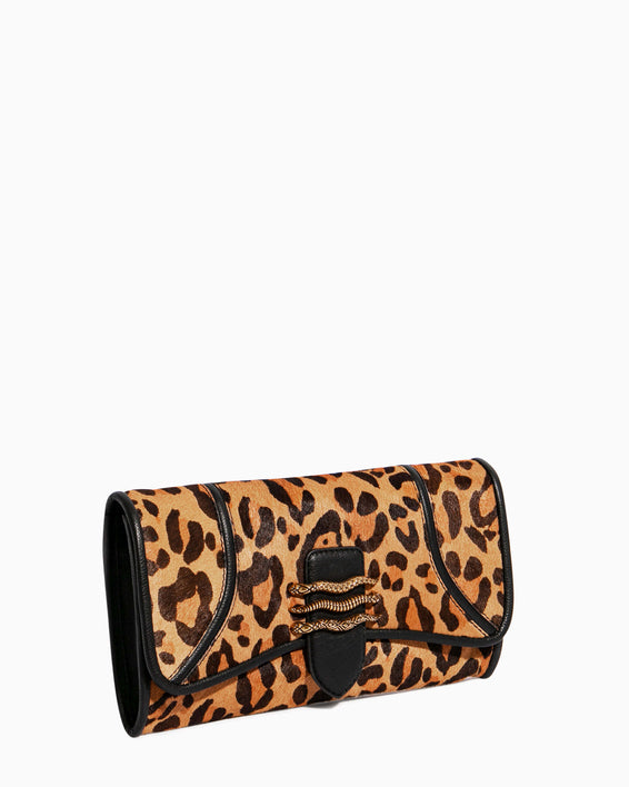 Fierce & Fab Clutch - large leopard haircalf side angle