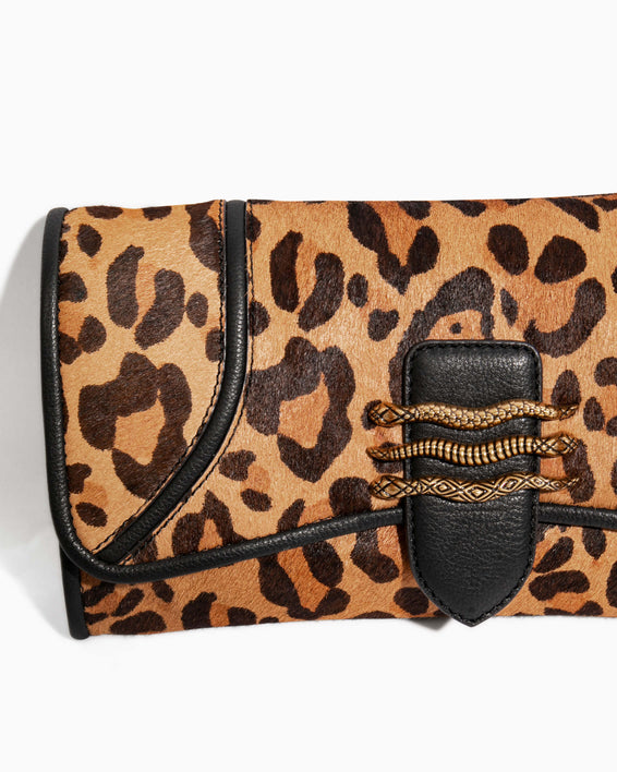Fierce & Fab Clutch - large leopard haircalf hardware detail