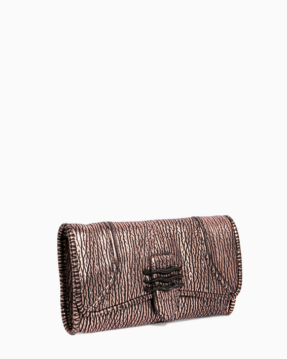 Fierce & Fab Clutch - rose gold bubble lamb side angle