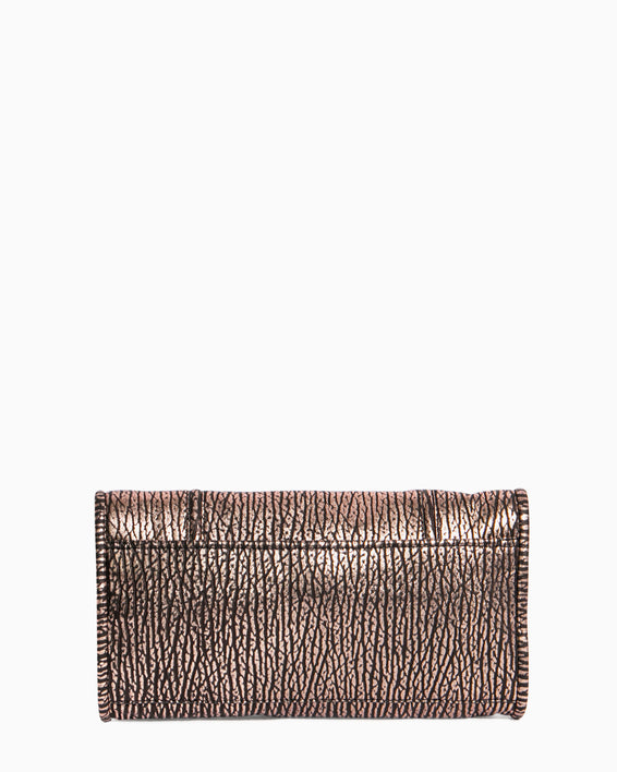 Fierce & Fab Clutch - rose gold bubble lamb back