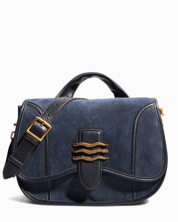 Fierce & Fab Saddle Bag - deep indigo nubuck front