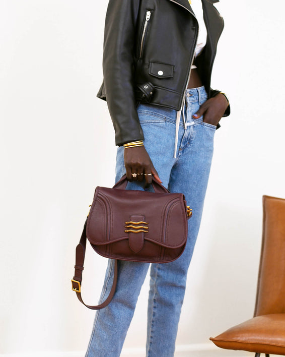Fierce & Fab Saddle Bag - deep indigo nubuck on model
