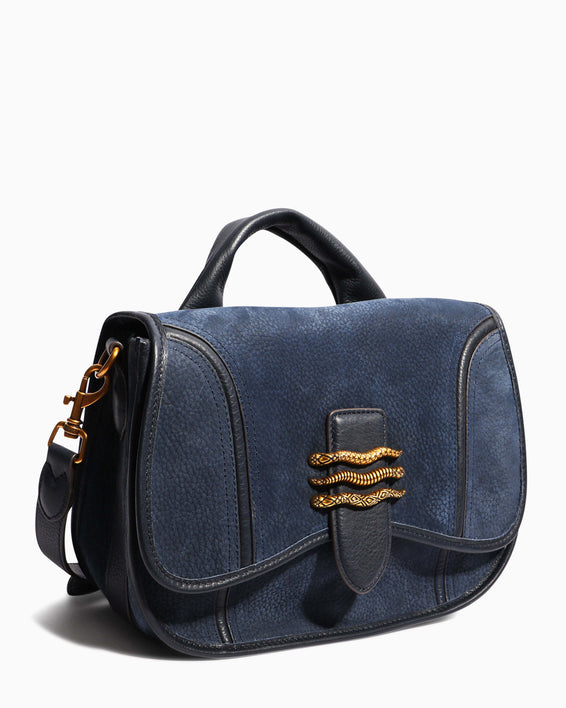 Fierce & Fab Saddle Bag - deep indigo nubuck side angle