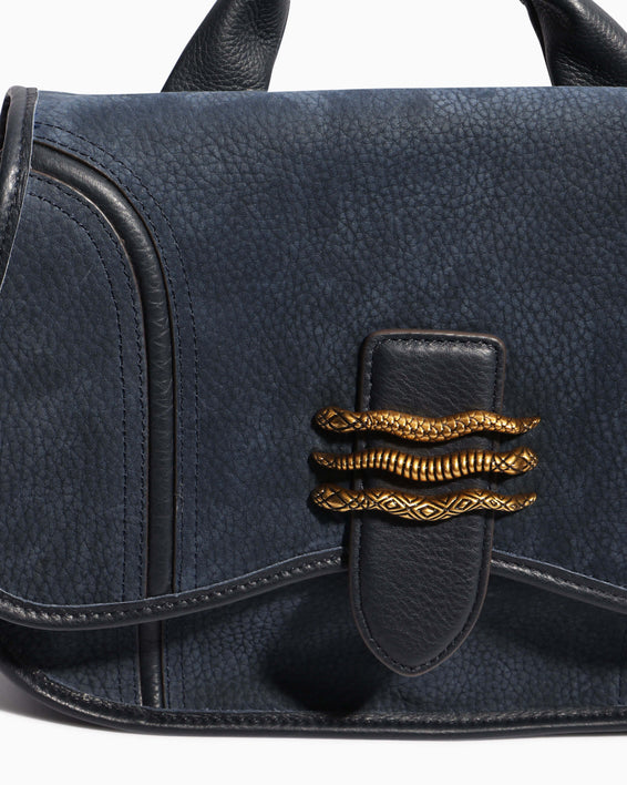 Fierce & Fab Saddle Bag - deep indigo nubuck detail
