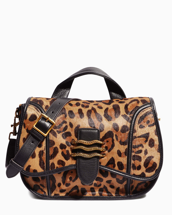 Fierce & Fab Saddle Bag - large leopard haircalf front