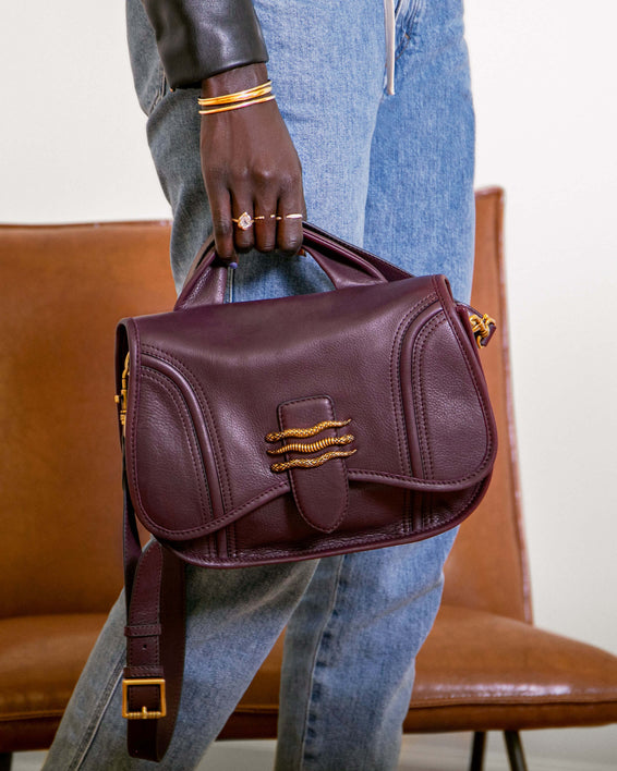Fierce & Fab Saddle Bag - merlot on model