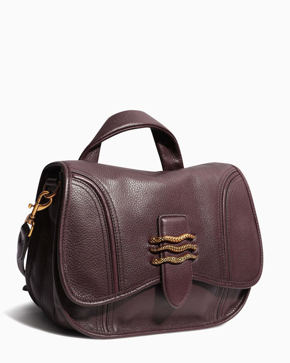 Fierce & Fab Saddle Bag - merlot side angle
