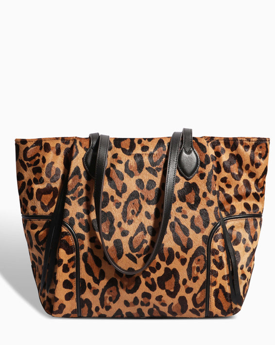 Fierce & Fab Tote - large leopard haircalf front