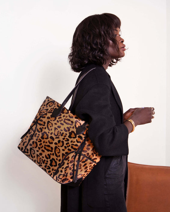 Fierce & Fab Tote - large leopard haircalf on model