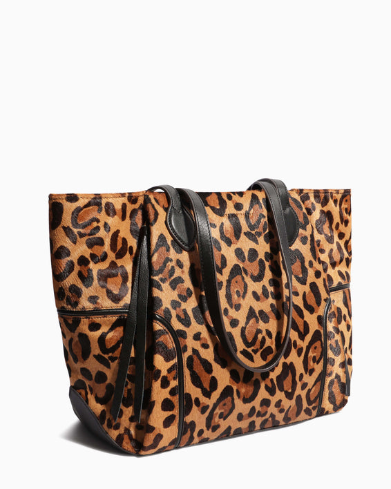 Fierce & Fab Tote - large leopard haircalf side angle