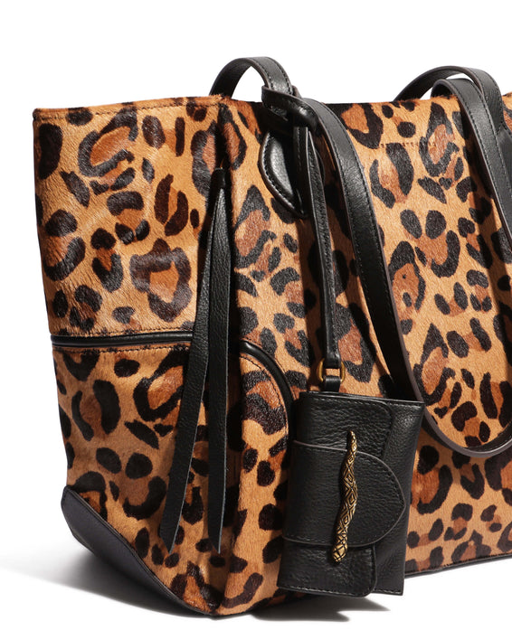 Fierce & Fab Tote - large leopard haircalf detail