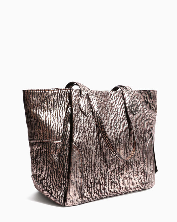 Fierce & Fab Tote - rose gold bubble lamb side angle