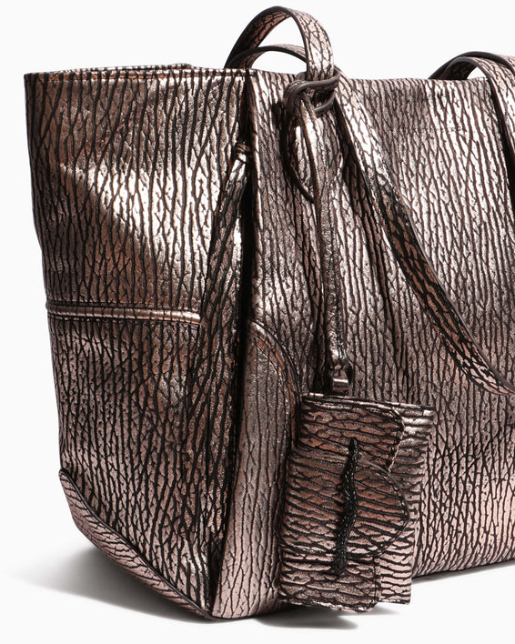 Fierce & Fab Tote - rose gold bubble lamb detail