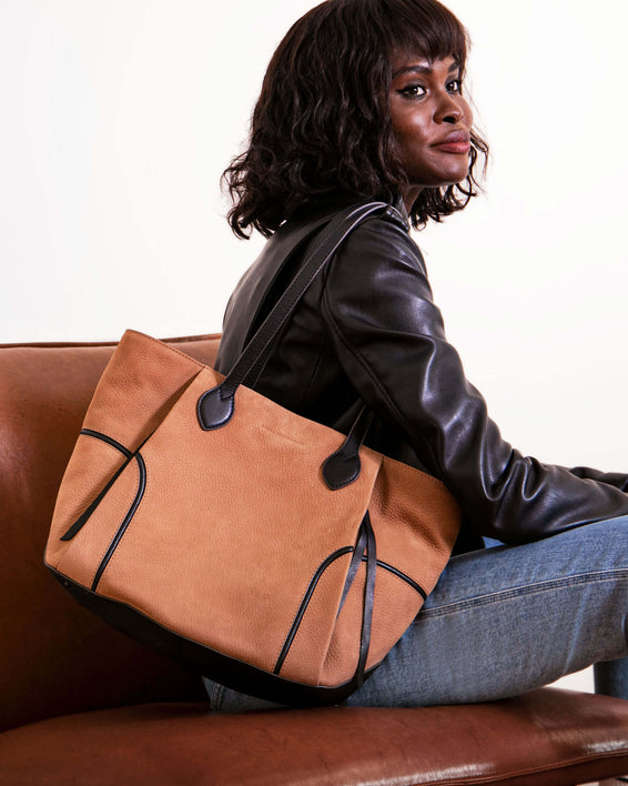 Fierce & Fab Tote - vachetta nubuck on model