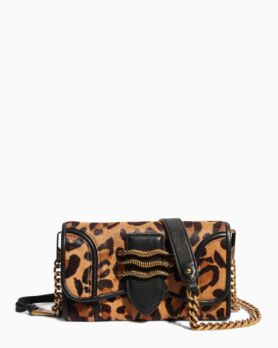 Fierce & Fab Wallet On A Chain - large leopard haircalf front