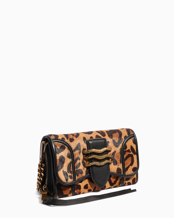 Fierce & Fab Wallet On A Chain - large leopard haircalf side angle