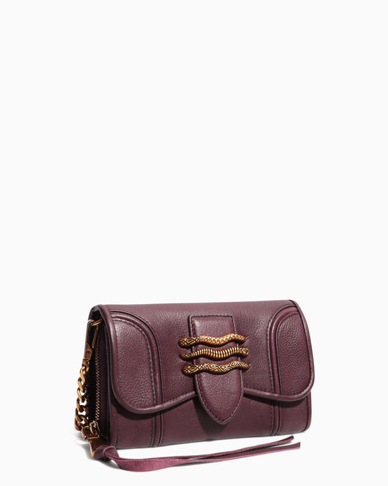 Fierce & Fab Wallet On A Chain - merlot side angle