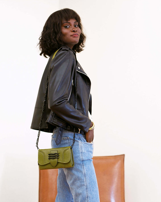 Fierce & Fab Wallet On A Chain - olive on model