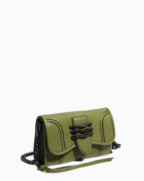 Fierce & Fab Wallet On A Chain - olive side angle