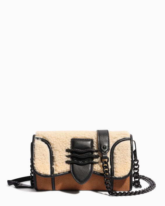 Fierce & Fab Wallet On A Chain - shearling front