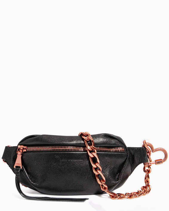 Heart Chain Bum Bag Black With Chocolate Rose Gold - front