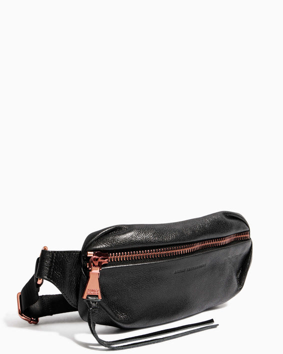 Heart Chain Bum Bag Black With Chocolate Rose Gold - side angle
