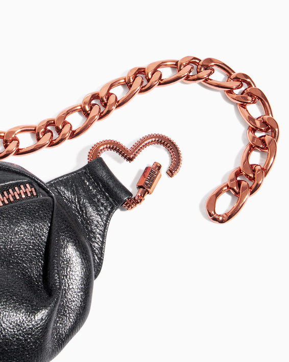 Heart Chain Bum Bag Black With Chocolate Rose Gold - custom hardware detail