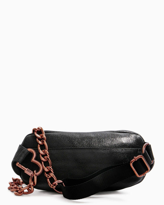 Heart Chain Bum Bag Black With Chocolate Rose Gold - back